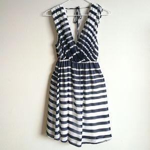 WINDSOR Navy & White Striped Plunge Neck Dress